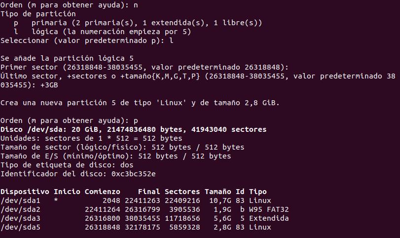 Crear partición lógica con fdisk
