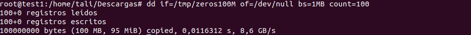 Prueba velocidad lectura disco duro linux