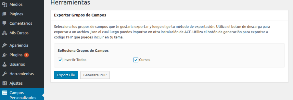 Exportar custom fields en Advanced Custom Fields