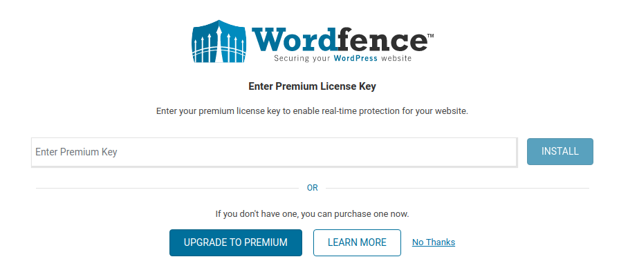 Activación de Wordfence plugin para WordPress.