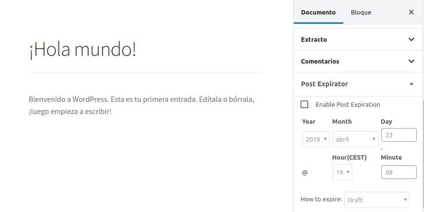 Despublicar entradas en WordPress con Post Expirator