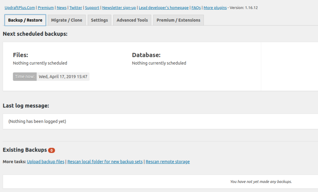 Copias de seguridad con Updraft Plus Backups para WordPress