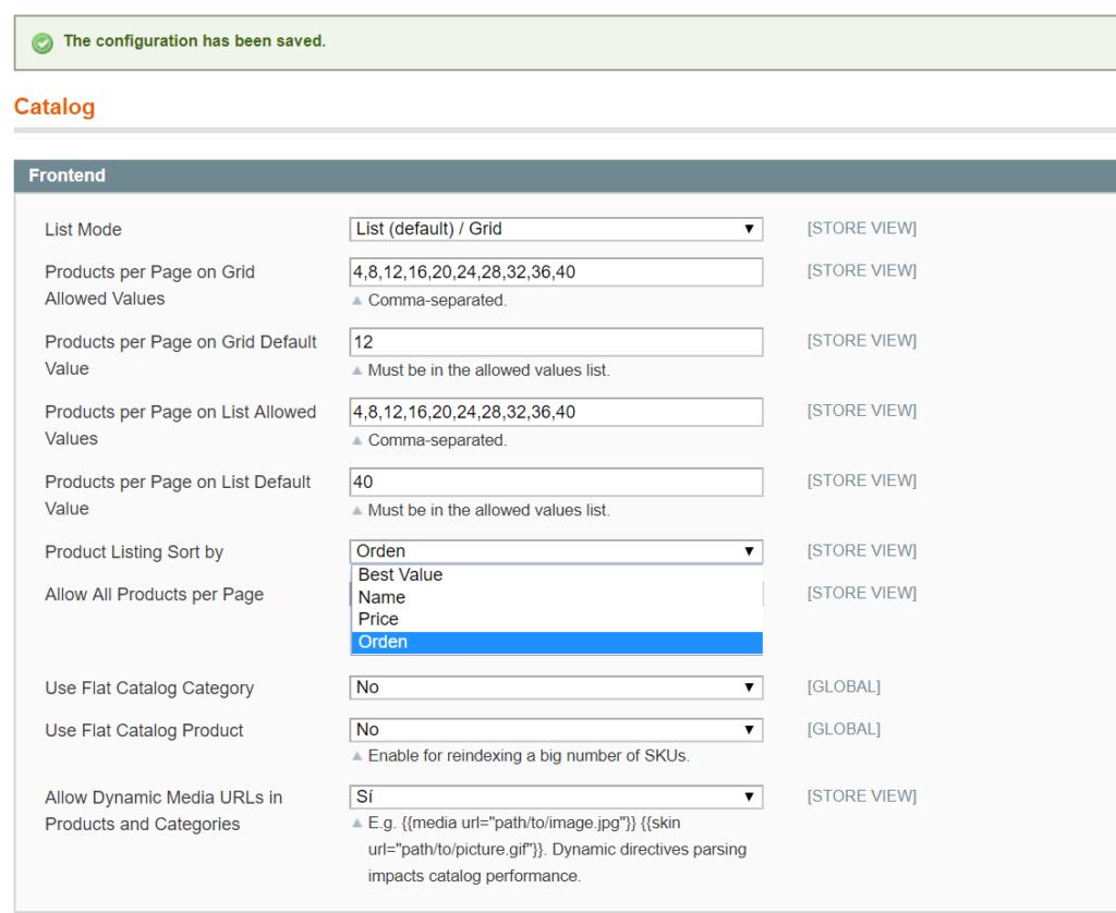 Ordenar productos por atributo personalizado en Magento 1.9