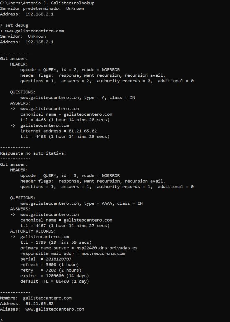 Cómo ver el TTL de un dominio desde Windows