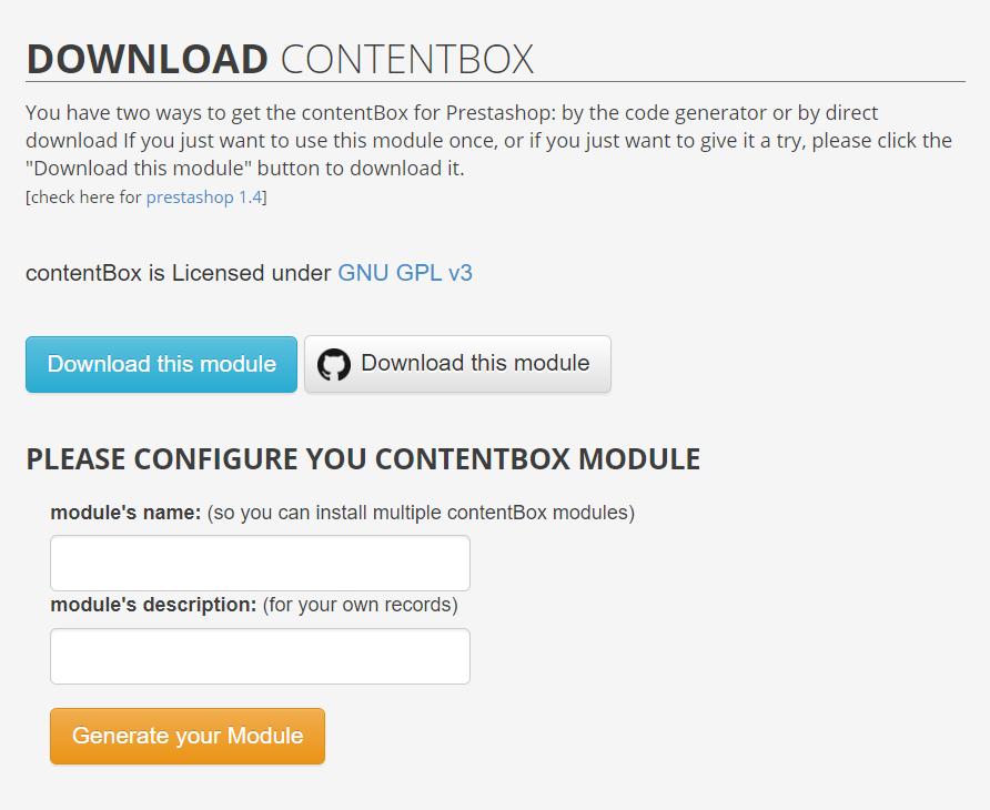 Contentbox. Módulo gratuido de Prestasho para insertar contenido