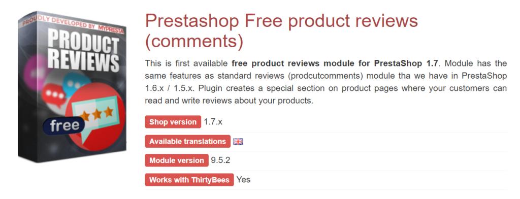 Módulo reviews de productos para Prestashop
