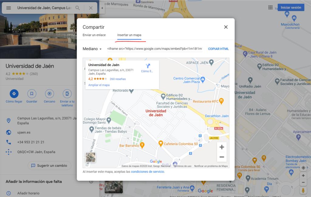 Insertar mapa de Google con iframe
