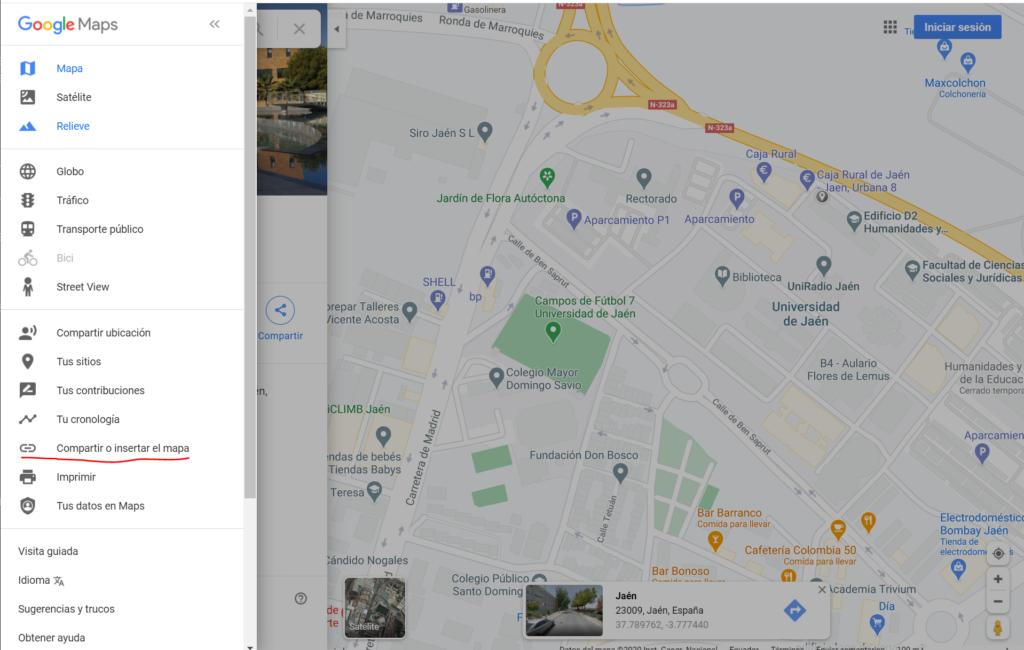 Insertar mapa de Google Maps