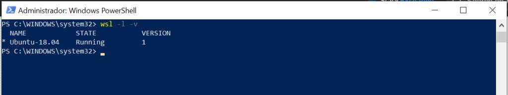 Comprobar la versión de WSL que tenemos instalada