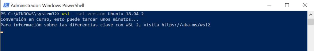 Cómo cambiar la versión de WSL de una máquina virtual